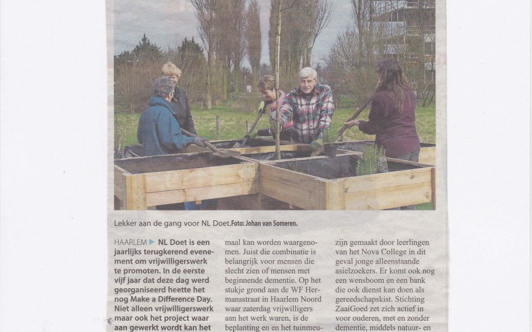 ZaaiGoed in Haarlems Weekblad na NLdoet!