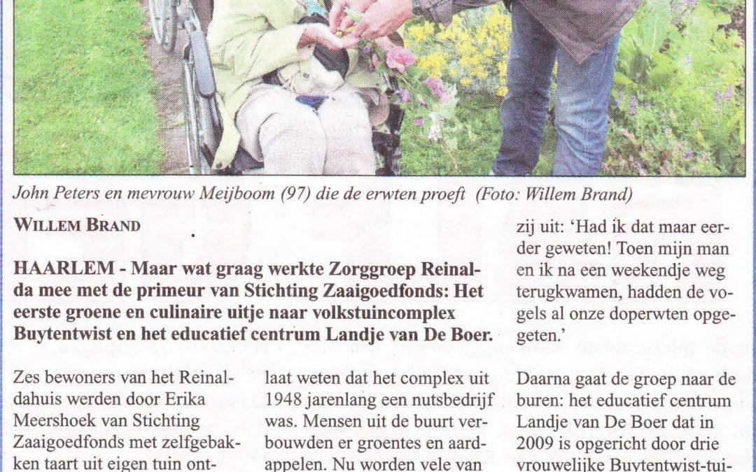 Groen doet Goed! in Haarlems Weekblad 15 juli 2015