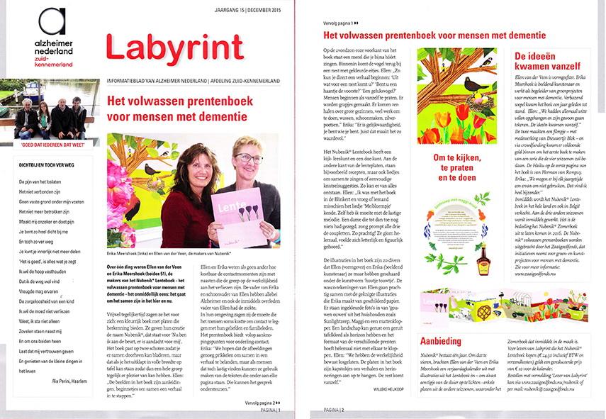 Nubenik* Lenteboek in Labyrint van Alzheimer Nederland.