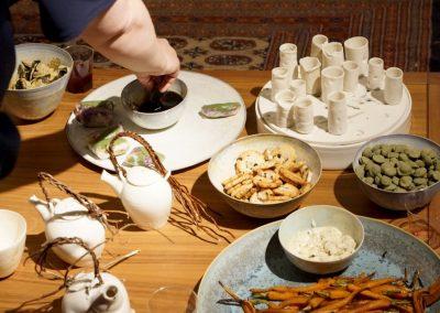 maaltijd afterparty tijdens de kunstlijn in Galerie SPW59