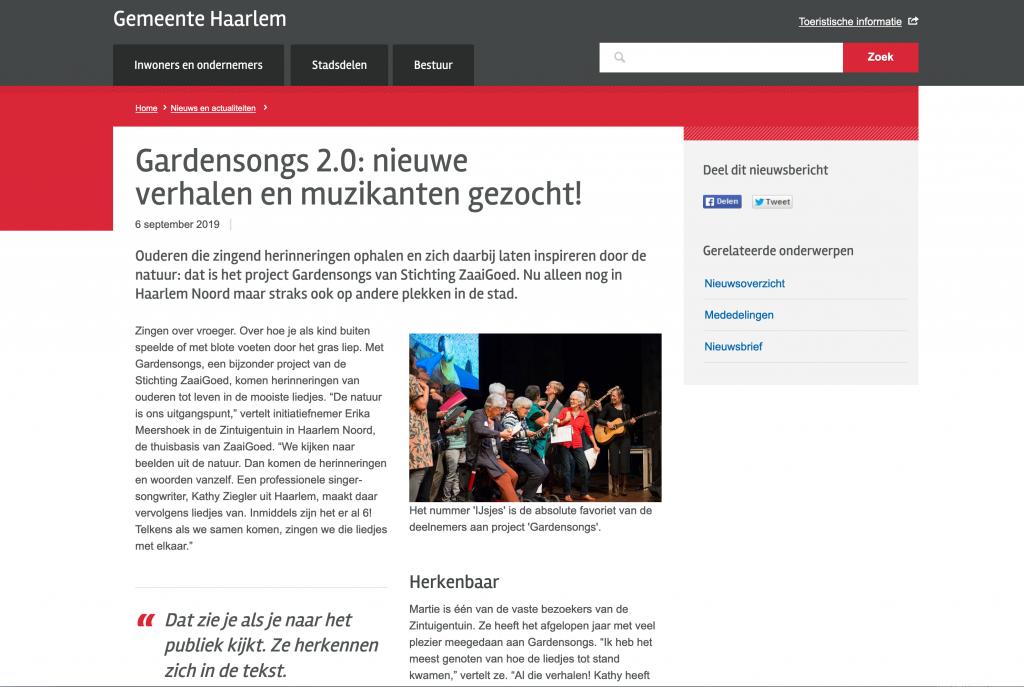 Gardensongs in het nieuws bij Gemeente Haarlem