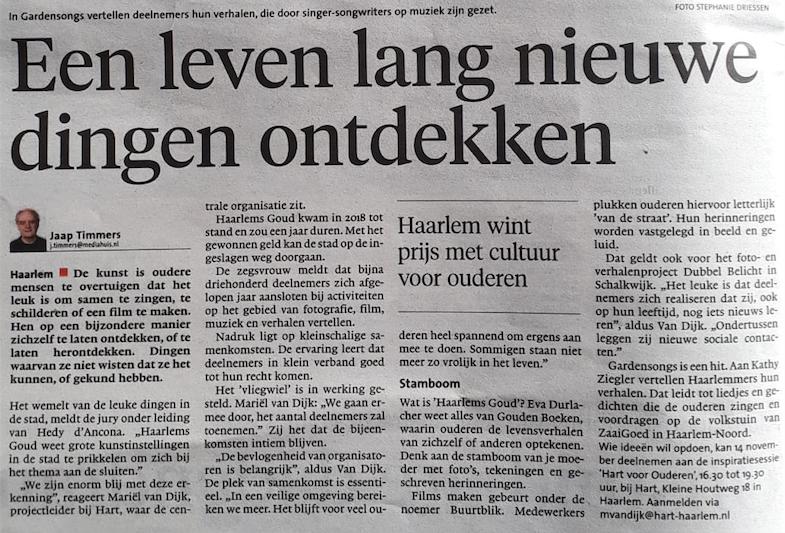 In het Haarlems Dagblad met kunstprijs voor Gardensongs