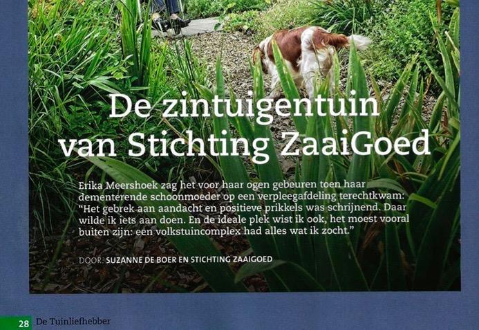 De Zintuigentuin in het tijdschrift de Tuinliefhebber