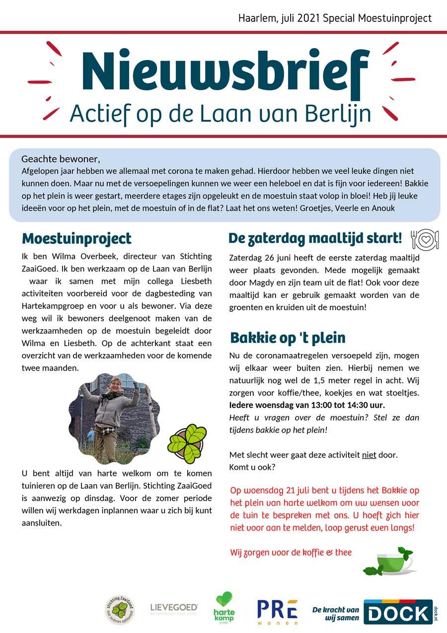 Stichting ZaaiGoed vermeld in de nieuwsbrief van de Laan van Berlijn